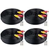 WildHD 4x200ft BNC Cable All-in-One Siamese Video and Power Security Camera Cable Extension Wire Cord with 2 Female Connectors for All Max 5MP HD CCTV DVR Surveillance System, 200ft 4pack Cable, Black