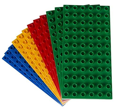 """Big Briks - Premium-Bauplatten - kompatibel mit großen Bausteinen Aller führenden Marken - nur für Steine mit großen Noppen geeignet - 12 Stück - 7,5 x 3,75"""" (19,1 x 9,5 cm) - Gelb"""