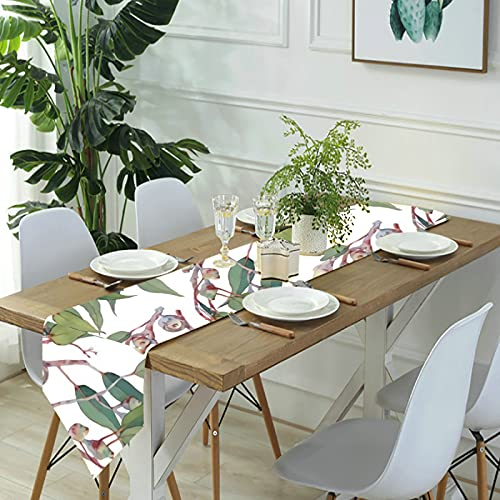 Reebos Camino de mesa de lino para aparador, rama de eucalipto australiano, camino de mesa de cocina, para cenas de granja, fiestas de vacaciones, bodas, eventos, decoración, 13 x 70 pulgadas
