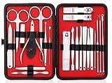 Maniküre-Set, 23-in-1-Pediküre-Set für Frauen, Pflegeset für Männer, Nagelknipser-Set, Nagelpflegewerkzeuge aus Edelstahl mit tragbarer Reisetasche aus schwarzem Leder