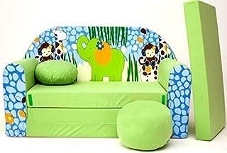 Pro Cosmo Z16 Canapé-lit futon pour Enfants avec Pouf/Repose-Pieds/Oreiller, Tissu, Vert, 168 x 98 x 60 cm, Coton