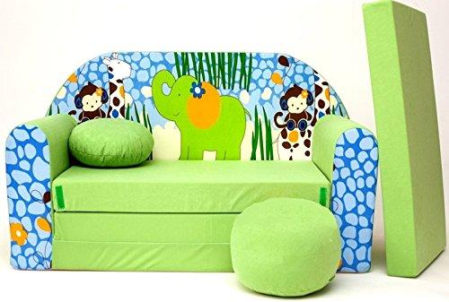Pro Cosmo Z16 Kinder Schlafsofa Futon mit Pouff/Fußhocker/Kissen, Stoff, Grün, 168 x 98 x 60 cm, Baumwolle