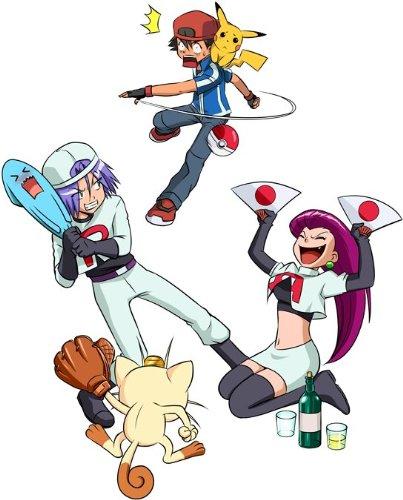 OKIWOKI T-Shirt Noir Pokémon parodique Sasha, Pikachu et la Team Rocket : Une Partie de Poké-Ball : (Parodie Pokémon)
