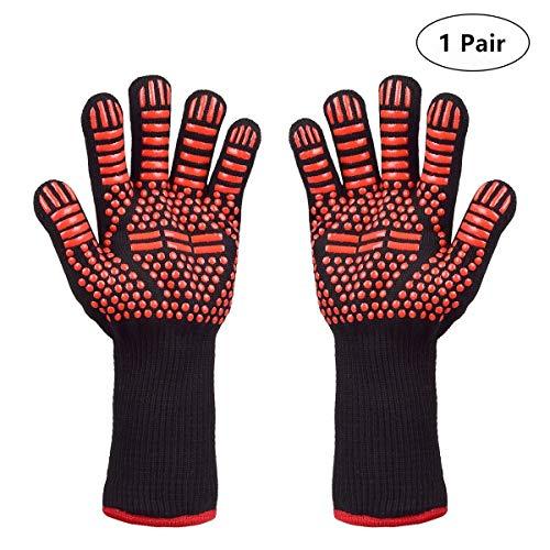 Senders Grillhandschuhe, Ofenhandschuhe Hitzebeständige BBQ Handschuhe Kochenhandschuhe bis zu 800°C Backhandschuhe rutschfeste mit Silikon für Grill/Kochen/Backen/Schweißen (Rot)