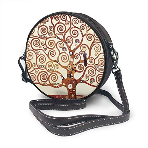 fhjhfgjghfjghfj Women Round Crossbody Bag Umhängetasche, Tree of Life by Gustav Klimt Handbag Purse Single Shoulder Bag PU Leather Chain Strap Handle Tote