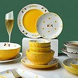 Servizio Da Tavola in Porcellana, 48 pezzi Cartoon disegnati a mano modello ape Ciotola di cereali e piatto da bistecca | Servizio da tavola in porcellana per riunioni di famiglia