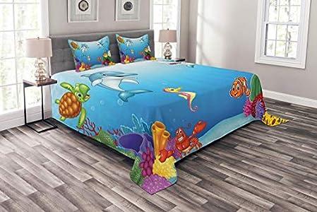 Colcha de acuario, ilustración del mundo submarino de estilo de dibujos animados y animales marinos sonrientes, juego de colcha decorativa acolchada de 3 piezas con 2 fundas de almohada, 177X218CM