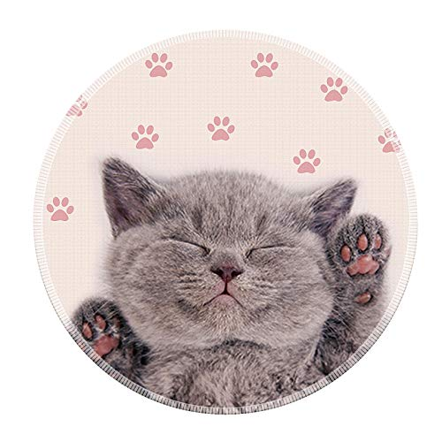 Mouse Pad Galdas Mousepad Round Gaming Mouse Pad Rubber Base Cloth Mouse Pads for Computers Laptop (Updated Version) … … (Cute Cat)