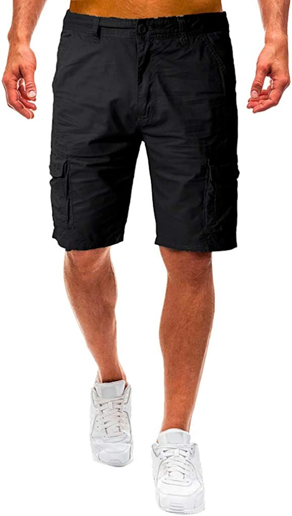 Cargo Shorts Forthery Men's Casual Pure Color Relaxed Fit Multi-Pocket Beach Work Trouser Cargo Shorts Pant(Black,38)