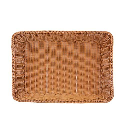 Hornear en casa Vegetal rectángulo pan cesta de mimbre cesta del almacenaje de la fruta del alimento de la porción cesta Supermercado Pantalla Bandeja (Size : 45x34x8cm)