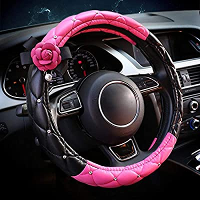 eing Fashion Auto Car Steering Wheel Covers with Crystal Rhinestone & Camellia Flower,Car Interior Accessories for Girls Women Ladies - Black+Pink&Rose Red Flower