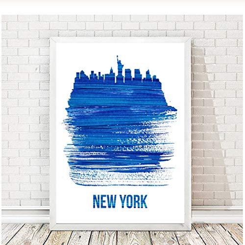 Washington New York Blue City Skylines Map Art Canvas Poster Home Wall Decor-50x70cm Sin marco