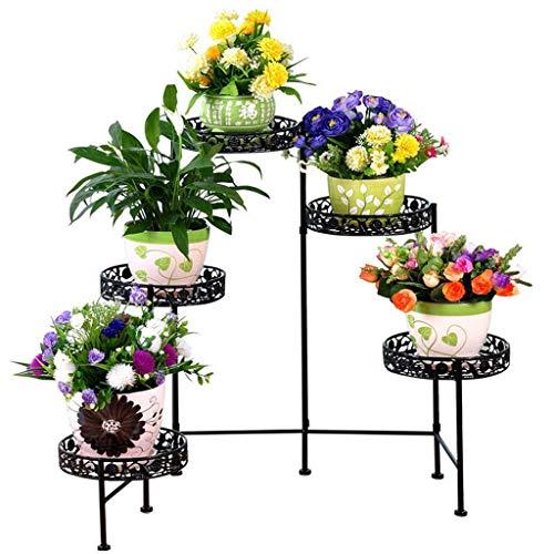GWFVA 3-laags bloempotten gemaakt van smeedijzer, woonkamer binnen en buiten, balkon, hoge hakken, bloem, groen, roze, opknoping orchidee (kleur: zwart)