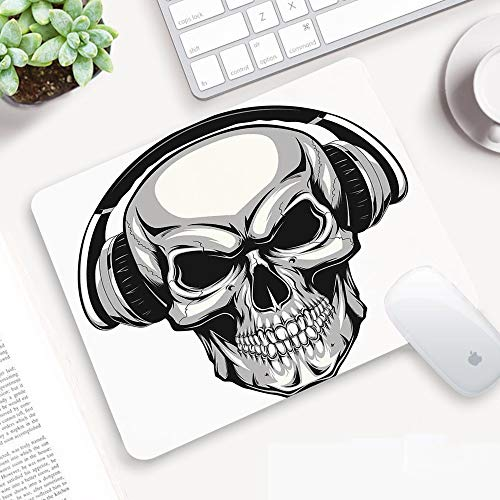 Alfombrilla Ratón 320x250 mm,Skull, Dj Punk Skull escuchando música con auriculares Hippie Dead Cross,Antideslizante e Alfombrilla goma Impermeable Ideal para Portátil, Teclado, Gaming Hogar y