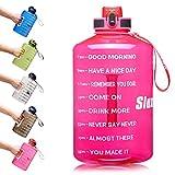 SLUXKE 1 Gallon Water Bottle with Motivational Time Marker, Large 128oz Leakproof BPA Free Fitness...
