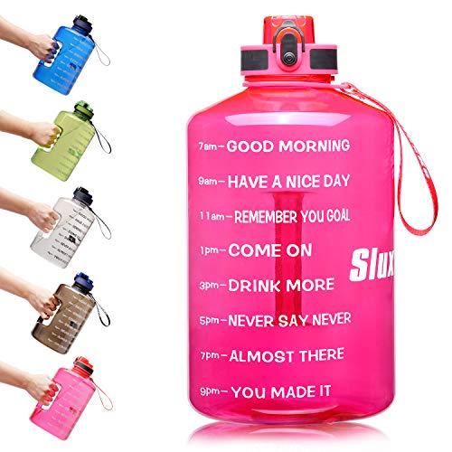 SLUXKE Botella de agua de 1 galón con marca de tiempo motivadora de 2 l/3,8 l, botella de agua deportiva extragrande, sin BPA, a prueba de fugas, reutilizable, para gimnasio, deportes al aire libre