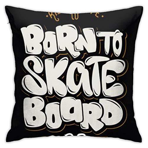 L.R.D Home Taies d'Oreillers Housses de Coussin Fermeture éclair cachée Canapé Deco Born to Skate Board 45 X 45 cm