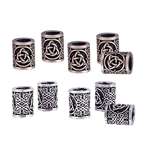 Lurrose 10pcs Celtic Dreadlock Beads DIY Viking Beads Hair Tubes Vintage Mental Dreadlock Cuffs Big for Home Hair Style DIY