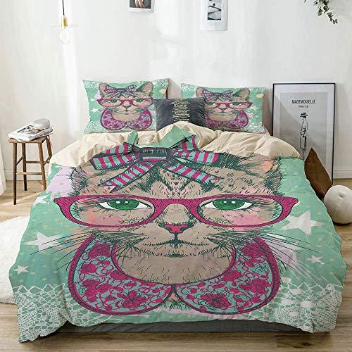 Juego de funda nórdica beige, gato de moda con gafas Hipster y lazo de encaje, gráfico de humor vintage, juego de cama decorativo de 3 piezas con 2 fundas de almohada, fácil cuidado, antialérgico, sua