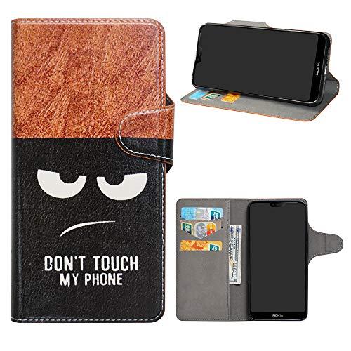 HHDY Nokia 7.1 2018 Cover, Flip Wallet Case PU Pelle con Carte Slot Credito Portafoglio Supporto Stand Schema Custodia per Nokia 7.1 2018,Don't Touch