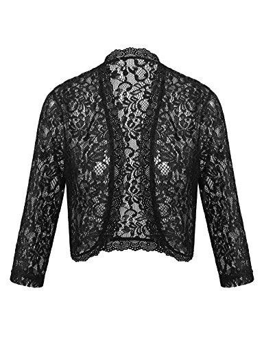 Concep Ladies Crochet Lace Bolero Shrug Sheer Cardigan 3 4 Sleeve Top Black S