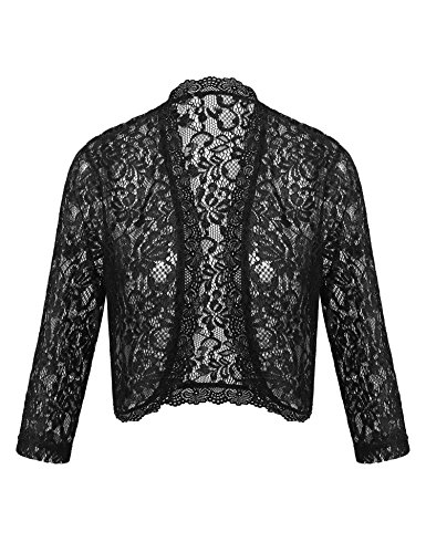 Concep Ladies Crochet Lace Bolero Shrug Sheer Cardigan 3 4 Sleeve Top Black S