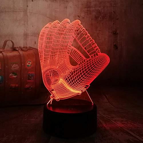 Aoyuhf Licht Der Nacht 3D 3D Baseball Handschuhe Led Bunte Usb Nachtlicht Tisch Schlaf Lichter Weihnachtsdekoration Home Bar Kinder Geschenke