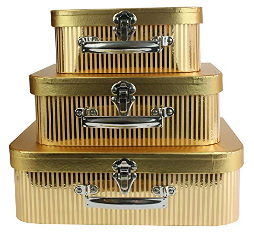 Emartbuy Set of 3 Rigid Luxury Presentation Suitcase Storage Gift Box, Metallic Gold Box with Lid, Yellow Interior with Metal Handle and Clasp
