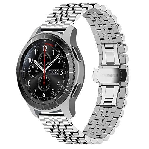 Juntan Compatible for Gear S3 Frontier/Classic Bracelet/Galaxy Watch 46mm Cinturino Acciaio Inossidabile 22mm Cinturini per Orologi Rilascio Rapido Cinturino Orologio per Donna Uomo Argento