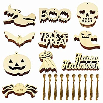 60PCS Halloween Wooden Slices Unfinished Wooden Halloween Ornaments Wooden Gift Tags Halloween Wood Cutouts with 60 Twine Ropes for Hanging Decoration and DIY Crafts Making