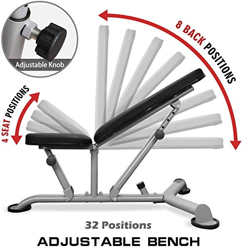 Mikolo Adjustable Weight Bench - 8+3 Positions Body Workout Bench, Multi-Purpose Incline Flat Bench for Home Gym