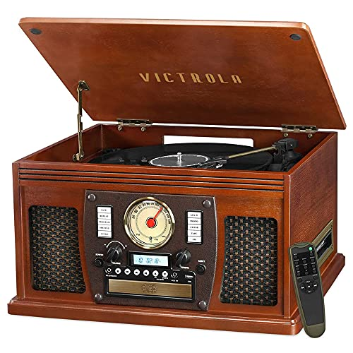 Victrola 8-in-1 Bluetooth Record Player & Multimedia Center, Built-in...