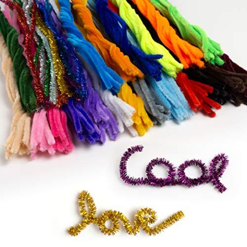 OfficeTree 220 Pfeifenputzer Bunt zum Basteln - Pfeifenreiniger Bunt 30 Farben inklusive Glitzerfarben - Chenilledraht für Kinder DIY Deko