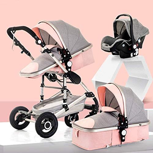Cochecito de bebé portátil y liviano 3 en 1 shotchair, cochecito anti-shock compacto con canasta de almacenamiento extra grande, liviano de aluminio de aluminio de alto paisaje (Color : Pink)