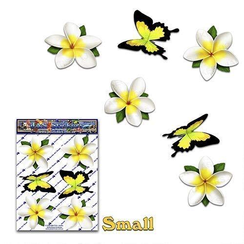 JAS Stickers® Blume Schmetterling Auto Aufkleber - Weiß - Einzel Frangipani Plumeria Tier Große Vinyl Aufkleber Pack Für Gepäck Fahrrad Wohnwagen Wohnmobile Boote - ST00041WT_SML