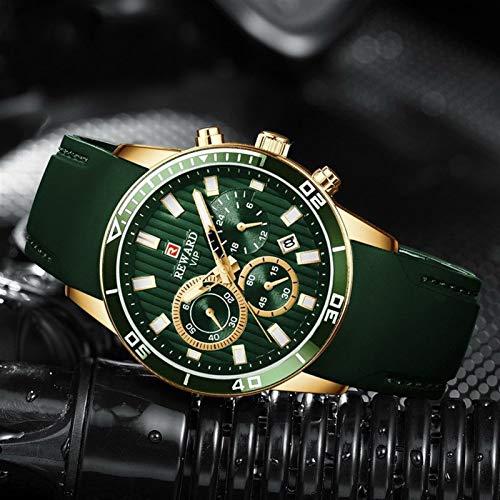 JCCOZ-URG Mens Relojes de primeras Marcas de Lujo del cronógrafo de los Hombres Verdes de Silicona a Prueba de Agua Fecha Reloj del Deporte Hombre Hombre Reloj Dropship URG