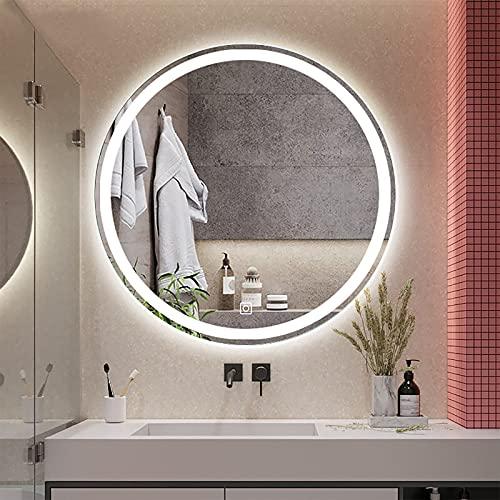 Espejos con Luz Incorporada, Espejo Redondo Sin Marco Antivaho para Baño, Espejo de Maquillaje con Interruptor Táctil/Luz Ajustable (Blanco/Cálido/Luz Diurna)