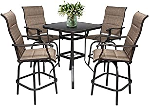 5PC Outdoor Bar Stools Set - 4 Bar Height Swivel Patio Chair & 1 High Bistro Table w/Umbrella Hole - Padded Textilene All Weather Furniture (Padded Textilene Chair Seat & Back, 4 Chiars & 1 Table)