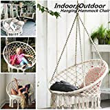 VEZARON Hammock Chair Macrame Swing, Hanging Cotton Rope Macrame Hammock Swing Chair for Indoor, Outdoor Home, Patio, Porch, Deck, Yard, Garden, Max Weight: 330 Pounds (White)