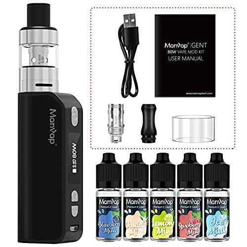 Vaper Cigarros Electronicos Manvap® Gent 7W-80W E cigarette Vape Recargable 2200mAh OLED Pantalla Box Mod - E Líquido con 5x10ml sin nicotina, Negro