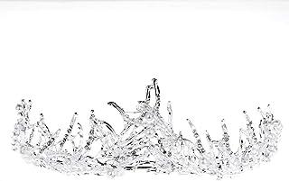LUCKYYY Accessori per Abiti da Sposa con Corona di Perle in Cristallo Fatto a Mano placcati Argento e impreziositi da Capelli