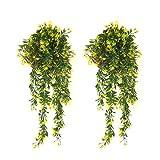 YGSAT® 2 PCS Plantas Hiedra Artificial,Guirnalda Hiedra Artificial De Hogar Boda Jardín Valla Escalera Ventana para Decoración Decoración Interior y Exterior/Amarillo