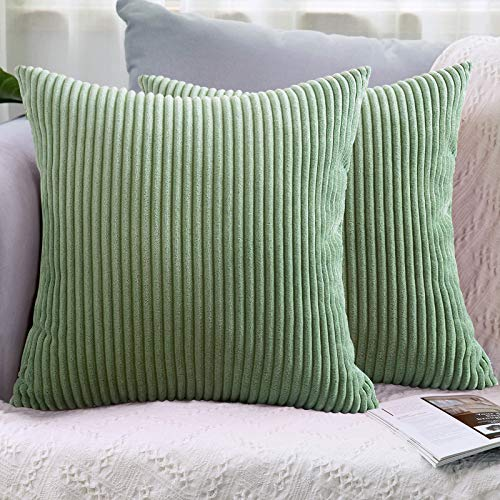 LHKIS Throw Pillow Covers 18x18 Set of 2, Decorative Corduroy Farmhouse Cushion Covers Pillowcase for Couch Sofa Bedroom Car, Light Green
