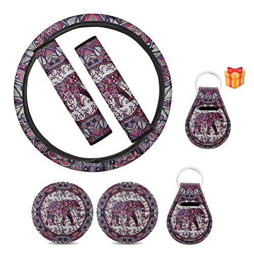 HUISEFOR 7 Pack Decorative Boho Elephant Car Steering Wheel Cover Universal Fashable Car Durable Protector for Most Vehicles