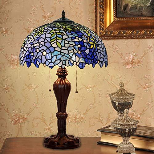 BOTOWI Lámparas de Mesa de Estilo Retro Tiffany de 16', lámpara de Mesa de Noche con vitrales Hechos a Mano con Flores de glicina Azul, lámpara de Escritorio Vintage, E27,110-240V
