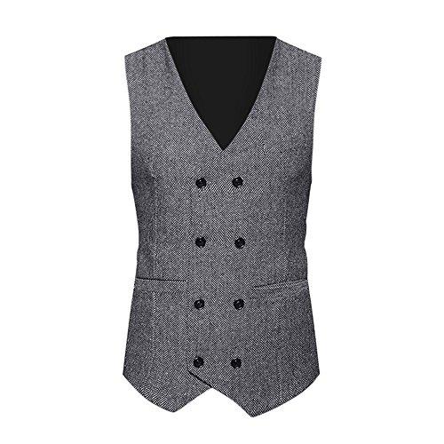 Uhdfjsjd Men's Suit, Retro Tweed Check Double Breasted Formal Waistcoat Slim Fit Jacket Gray