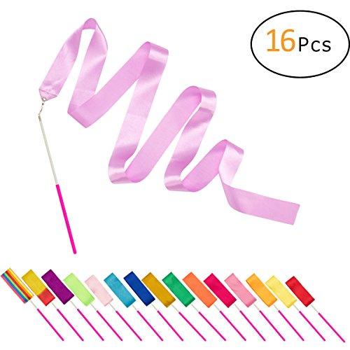 PAMASE 16 Packs Kids Dancing Gymnastics Ribbon Wands, 6'6' Rhythmic Artistic Twirling Ribbons with...