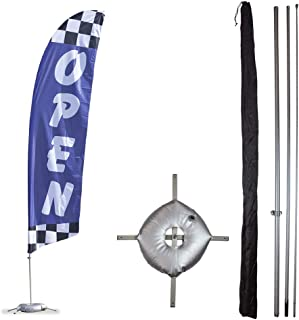 Vispronet Premium Open Feather Flag Kit - Includes 13ft Sectional Aviation Grade Fiberglass Poles, Blue Checkered Open Flag, Cross Base and Weight Bag, and Pole Sleeve Bag