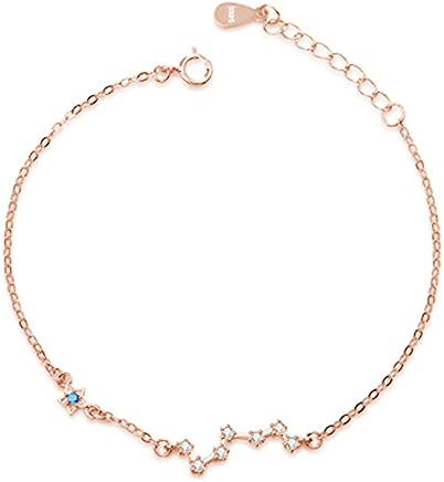 VOGUE 925 Solid Sterling Silver 925 Constellation Rose Gold Plated Bracelet 15.8cm length with 32mm extender Jewellery for Women
