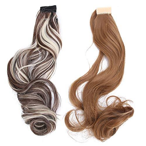Peluca larga ondulada, 2 uds, 60 cm, extensión de pelo de cola de caballo, largo y rizado, gradiente, peluca para mujer, gancho y cierre de lazo